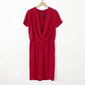 ST. JOHN Wine Red Short Sleeve Cowl Neck Dress